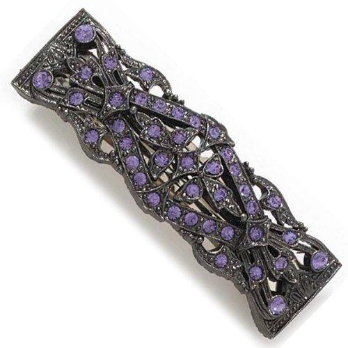 1928 Company Boutique Purple Onyx Black Hematite Tone Rhinestone Barrette