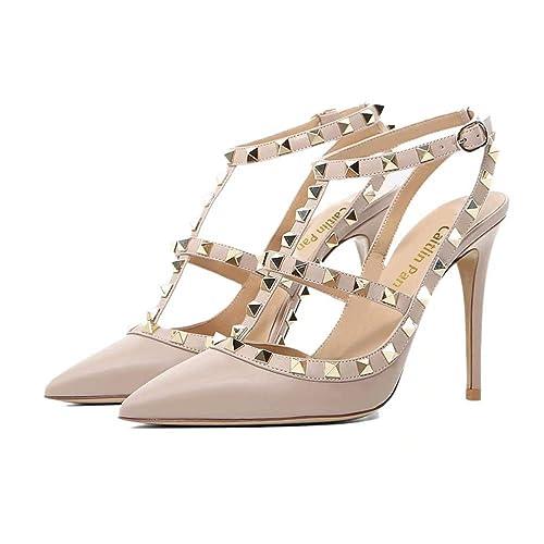 4a09a8c1873 Caitlin Pan Women s Studs Buckle High Heels Studded T-Strap Pointed-Toe  Kitten Heels
