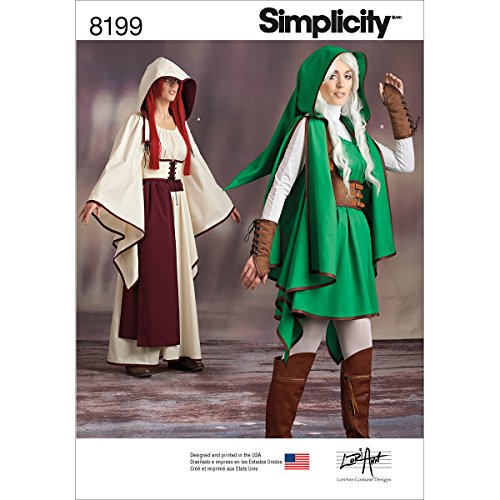 Simplicity Pattern 8199 Misses' Gaming Warrior Costumes Size H5 (6-8-10-12-14) -