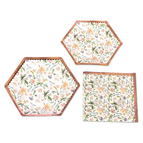 Andaz Press Vintage Floral Tea Party Set with Real Rose Gold Foil, Peach Peonies, 48 Piece Set 9-Inch and 7-Inch Hexagon Plates, Bulk 50-Pack Lunch Napkins Birthday, Bridal, Baby Shower