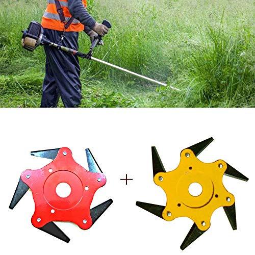 (Peedeu 2pcs Trimmer Head 6 Steel Blades Razors,65Mn Universal Grass Weed Eater Brush Cutter Blades,Garden Lawn Mower Machine Accessory Power Tools(5T Red 6T Yellow))