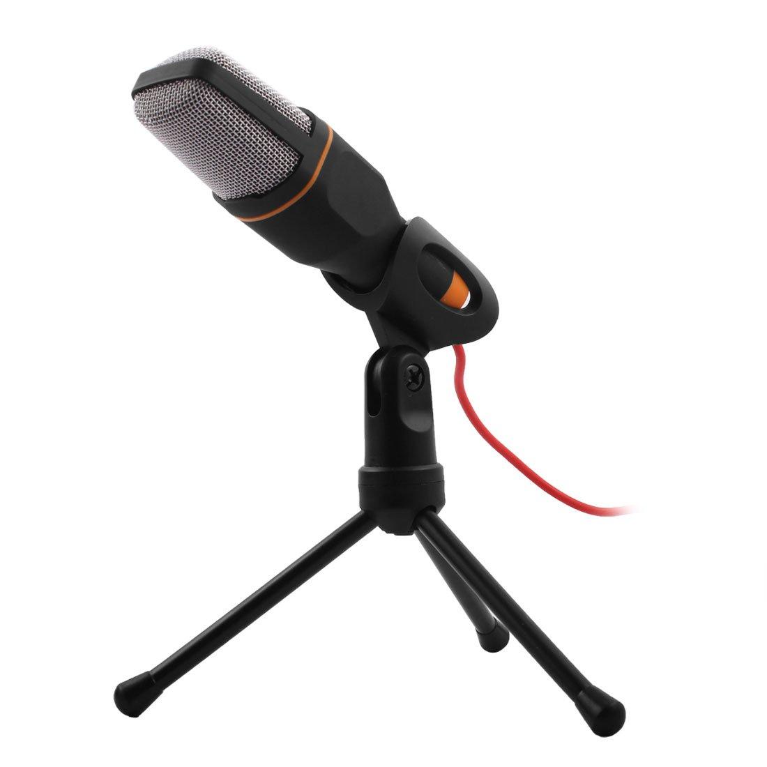uxcell PC Laptop Computer Adjustable Stand 3.5mm Jack Condenser Sound Podcast Studio Microphone Black