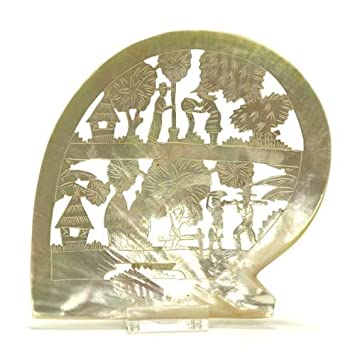 Amazon Com Plaque Mother Of Pearl Asian Sceene Home