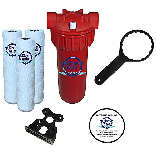 KleenWater Hot Water Filter (1), Mounting Bracket (1), 5 Micron High Temp Cartridges (3) with Scale Inhibitor, Spare Oring (1), Filter Wrench (1) by KleenWater