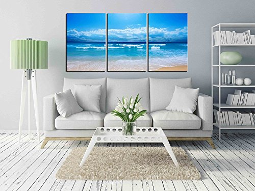 """Wall26 - 3 Piece Canvas Wall Art - Gorgeous Beach in Summertime - Modern Home Decor Stretched and Framed Ready to Hang - 24\""""x36\""""x3 Panels"""