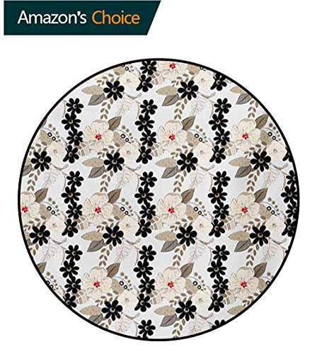 RUGSMAT Floral Non Slip Round Rugs,Abstract Exotic Blossoms Tropical Petals Stylish Fragrance Essence Print Oriental Floor and Carpets,Round-24 Inch Tan Ivory Seal Brown