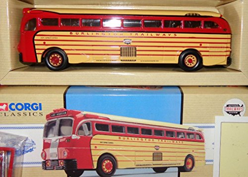 - Corgi BURLINGTON Trailways Bus Los Angeles Yellow Coach 743 in 1:50 Scale Limited Edition Die-Cast Metal #98465
