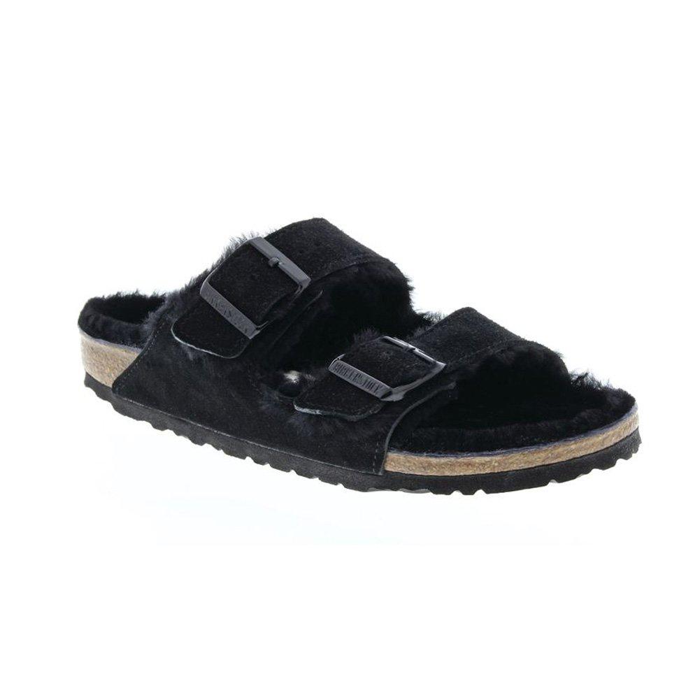 Birkenstock Arizona Shearling Unisex Sandals B00SJWEI4K 39 M EU|Birkenstock Arizona Black Shearling Suede Sandals
