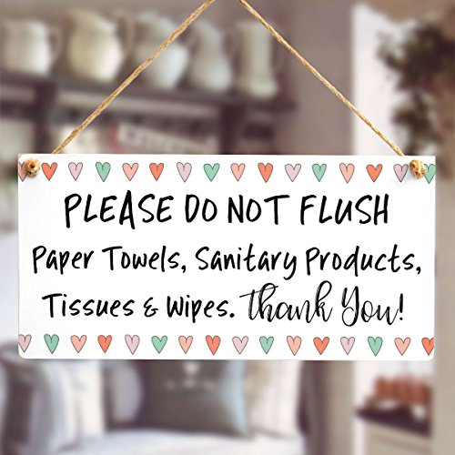 Meijiafei PLEASE DO NOT FLUSH Paper Towels, Sanitary Products, Tissues & Wipes. Thank You! - Fun Love Heart Design For Bathroom Or Toilet Using A Septic Tank System 10''x5'' by Meijiafei (Image #1)