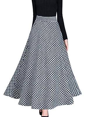 KLJR Women High Waist Wool A-Line Plaid Check Stylish Swing Long Skirts