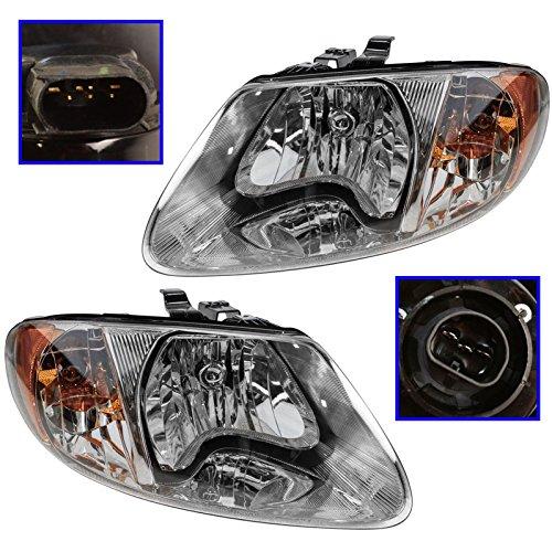 Headlights Headlamps Left & Right Pair Set for Dodge Grand Caravan Voyager ()