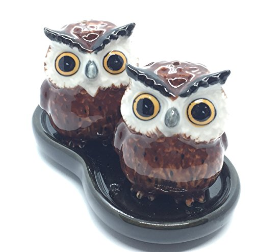 Mexican Pine Armoire (Cute Small Ceramic Owl Salt and Pepper Shakers Set Hand Painted T1 (Brown),Tiny salt and pepper shakers)