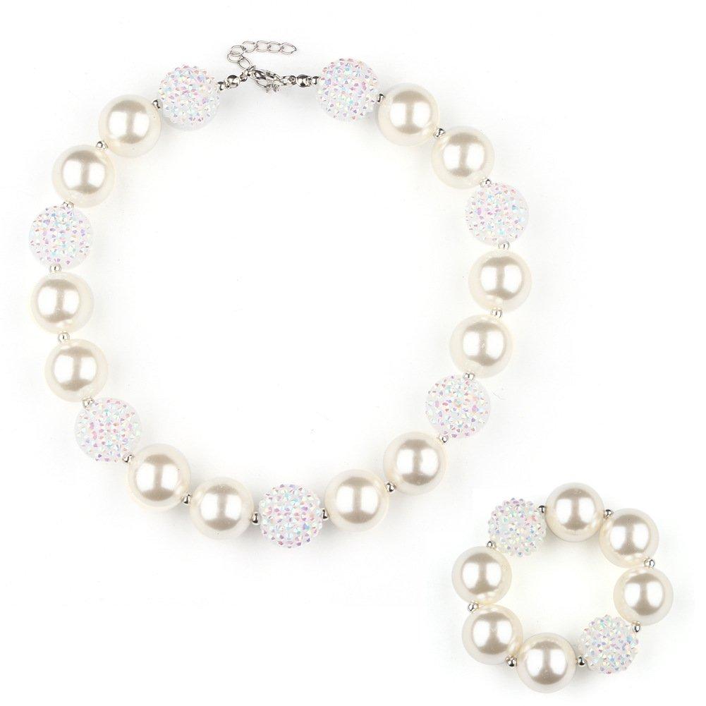 Unijew Kid Jewelry Kid Necklace Bracelet Jewelry Set for Girls Chunky Green Beads Bubblegum for Kids Teen Girls Gift