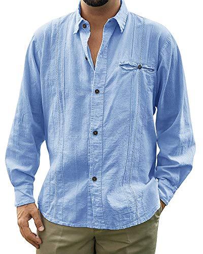 Pengfei Mens Linen Cotton Shirts Cuban Casual Button Down Long Sleeve Loose Fit Fishing Shirt Sky Blue