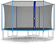 FDW Kids Trampoline 12FT,Trampoline with Safety Enclosure Net Combo Bounce Jump Outdoor Fitness Trampoline PVC
