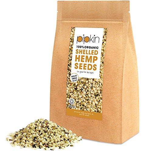 Pipkin 100% ORGANIC HEMP SEEDS 500g (SHELLED/HULLED) Hemp Seed Hearts...