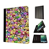 002316 - Collage Emoji Smiley Faces Cool Design Apple ipad 2 ipad 3 ipad 4 Fashion Trend TPU Leather Flip Case Protective Purse Pouch Book Style Defender Stand Cover