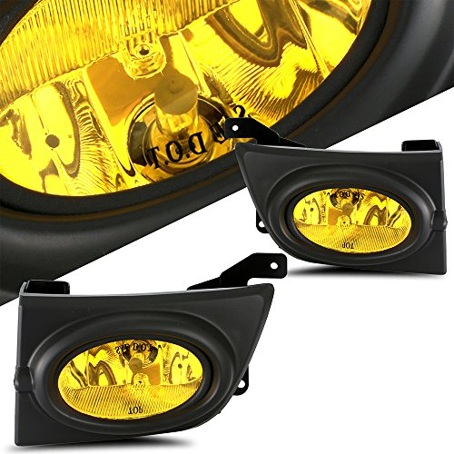 (SCITOO Fog Light Assembly Kit Projector Yellow Bumper Fog Lamp for HONDA CIVIC 4DR 2006 2007 2008 FOG LIGHT Pair Set (Wiring Kit Include))