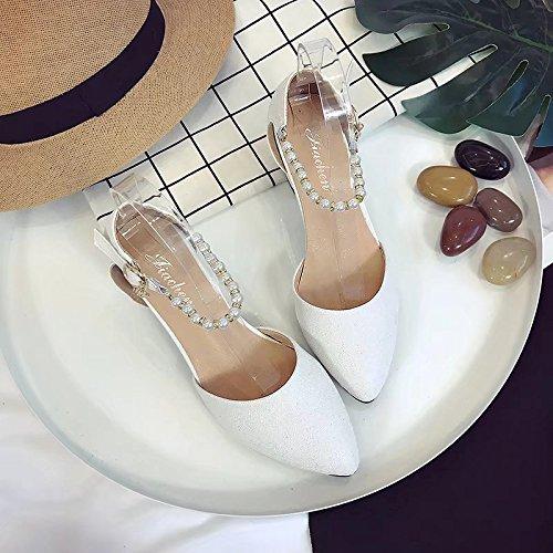 RUGAI-UE Sandalias de tacón Verano High-Heeled Zapatos Zapatos de hebilla White