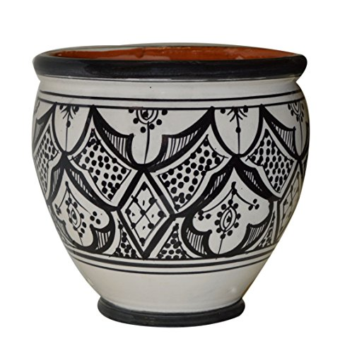 Flower Pot Moroccan Spanish Garden Drain Hole Ceramic Planter Handmade