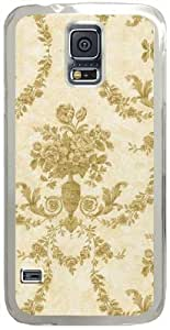 Textured-Floral-Damask Samsung Galaxy S5 Case with Transparent Skin I9600 Hard Shell Cover