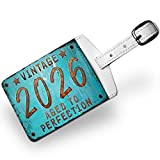 Luggage Tag Vintage Year 2026, Born/Made, Travel ID Bag Tag - Neonblond