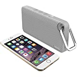 iLuv Aud Mini 6 (AUDMINI6) Slim Portable Weather-Resistant Bluetooth Speaker for iPhone, iPad, and other Smart Devices (Grey Carabineer)
