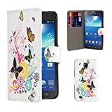 32nd® Design book wallet PU leather case cover for Samsung Galaxy S4 Active i9295 + screen protector and cleaning cloth - Colour Butterfly