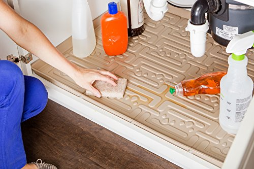 Xtreme Mats Under Sink Kitchen Cabinet Mat, 33 5/8 x 21 7/8, Beige