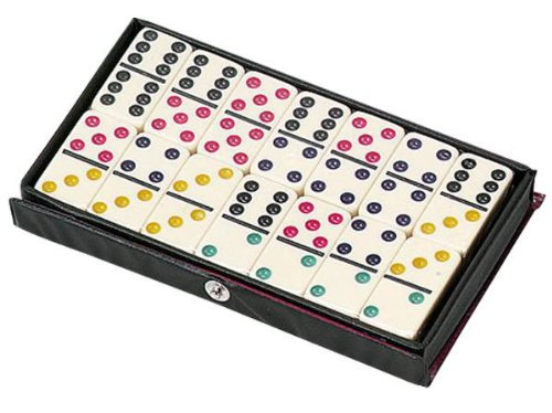 Jumbo Ivory Double Six Dominoes with Color (Jumbo Domino Dots)