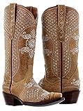 Cowboy Professional Women's Sand Marfil Rhinestones Wedding Cowboy Boots Snip 5 BM