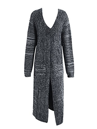 Simplee Apparel Women 's Long Sleeve knitteed cable bolsillo frontal abierto Cardigan Sweater Dress Dark Gris