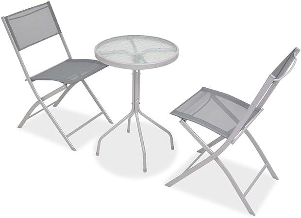 Festnight- Salon de Jardin Textilène 1 Table et 2 Chaise ...