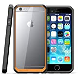 """iPhone 6 Plus / 6S Plus 5.5"""" Case Cover,TYoung(TM) Luxury Soft TPU Silicone Rubber Frame Transparent Hard PC Back Case Full Around Cover Anti-Scratch Shockproof Gel Shell Bumper - Orange Frame"""