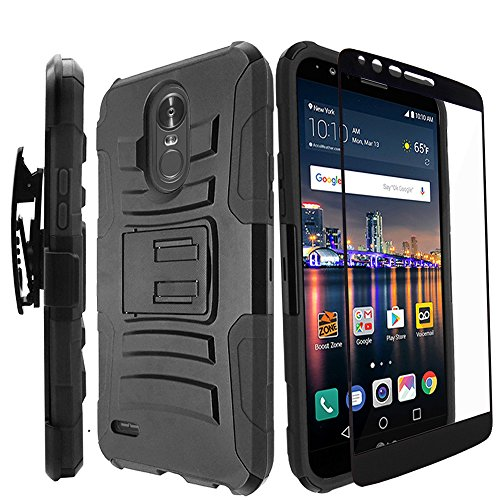 LG Stylo 3 Plus Case / LG Stylo 3 Case With Tempered Glass Screen Protector,IDEA LINE(TM)Heavy Duty Armor Shock Proof Dual Layer Holster Locking Belt Swivel Clip with Kick Stand - Black