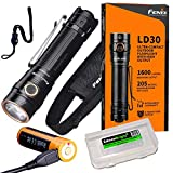 Fenix LD30 1600 Lumen LED Tactical Flashlight, 3500 mAh Rechargeable Battery with EdisonBright Battery Carry case Bundle