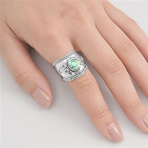 Simulated Abalone Wide Bali Ring New .925 Sterling Silver Rope Design Band Size 11 by Sac Silver (Image #1)
