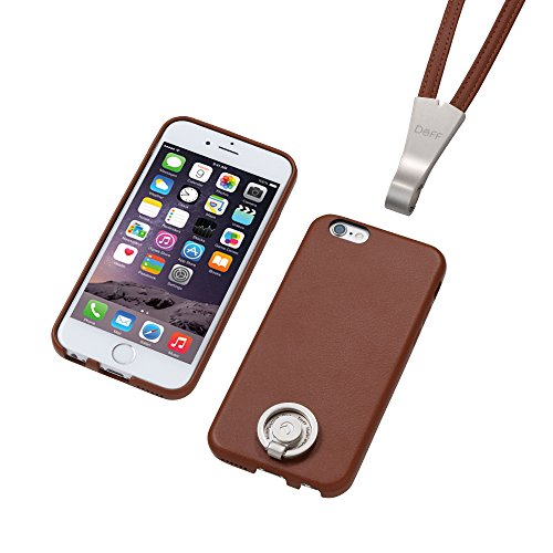 Deff Special PU Leather Ring Type Case and Stand for iPhone 6 (Brown)