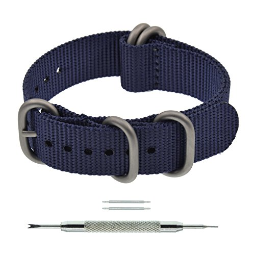 19mm Dark Navy Blue ZULU Style Thick Nylon Watch Strap Replacement for (Watch One Piece Get)
