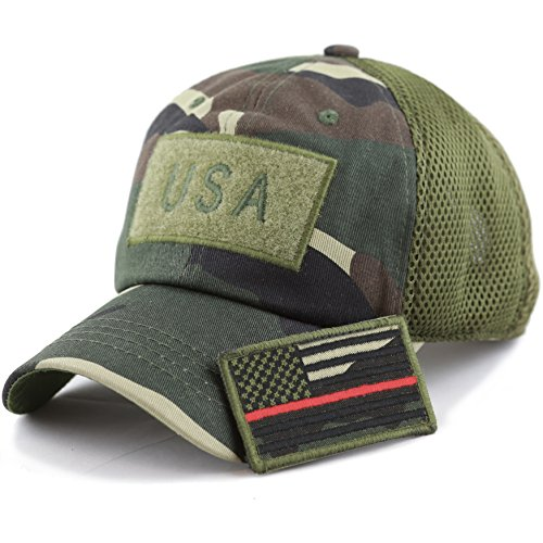 Red Camo Cap - THE HAT DEPOT Low Profile Tactical Operator with USA Flag Patch Buckle Cotton Cap (USA-Camo-Red line)
