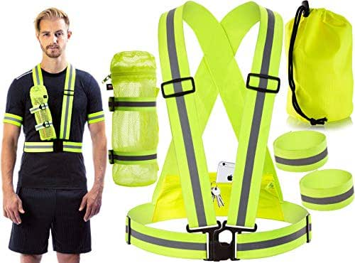 Reflective Vest for Running or Cycling Safety Gear with Back Pocket - Water Bottle Holder - Outdoor Reflector Wrist Arm Ankle Band Set