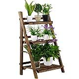 "Yaheetech 3 Tier Folding Wooden Plant Stand Wood Organizer Flower Pot Stand Plant Display Shelf Rack Ladder Garden Indoors Outdoors 24'' x 15'' x 37"""