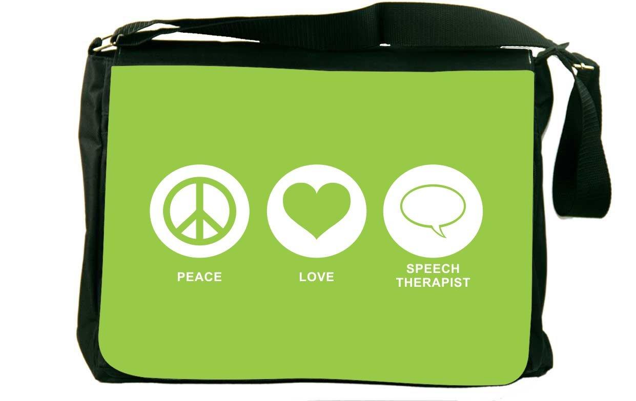 Rikki Knight Peace Love Speech Therapist Lime Green Color Messenger Bag School Bag