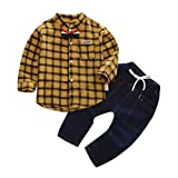 Nevera Toddler Clothes Baby Boy Plaid T Shirt Tops With Demin Pants Outfits (Yellow, 12M)