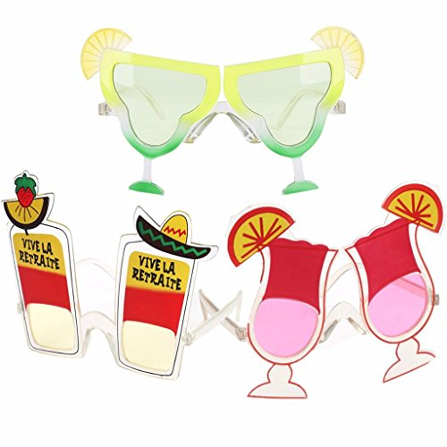TUANTUAN 3 Pcs Funny Christmas Party Glasses Cherry Orange Soda Eyeglasses Tequila Cocktail Cup Sunglasses Hawaiian Tropical Party Costume Photo Props,Style Random (Sunglasses Novelty Cocktail)