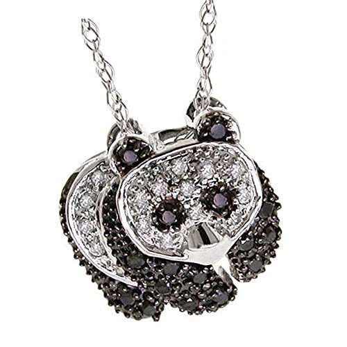 Dazzlingrock Collection 0.28 Carat (ctw) 10K Round Black & White Diamond Ladies Panda Bear Pendant 1/3 CT, White Gold