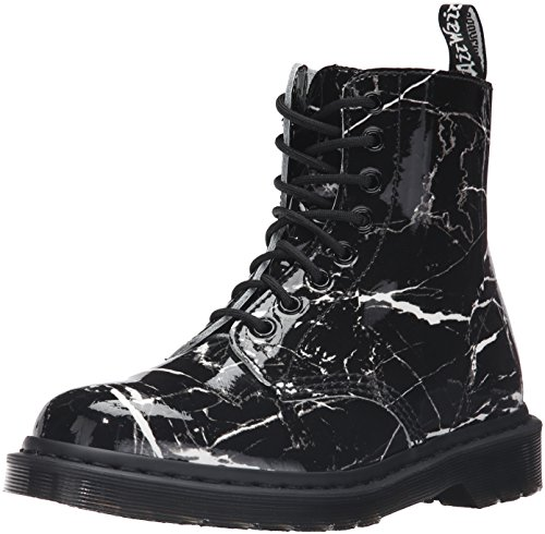 Dr Martens Pascal Marble Boots White Black Patent Marble