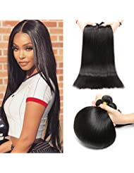 Alipop 10A 100% Unprocessed Brazilian Hair Bundles Virgin Hair Weave Straight Human Hair Extensions Natural Color (18 18 18, Natural Color)
