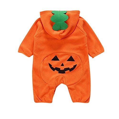 Halloween Romepr for 0-2 Years Old Boys Girls Cartoon Pumpkin Jumpsuits (12-18 Months, Orange)
