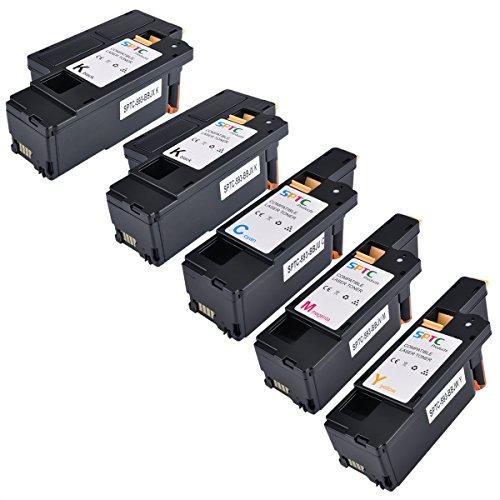 SPTC High Yield Compatible Dell E525W E525 525 Toner Cartridge Set for Dell Color Multi Function E525W Printers 5 Pack Set (1 Cyan, 1 Magenta, 1 Yellow, 2 Black)